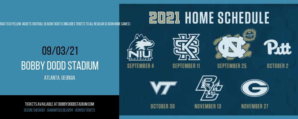 2021 Georgia Tech Yellow Jackets Football Season Tickets (Includes Tickets To All Regular Season Home Games) at Bobby Dodd Stadium